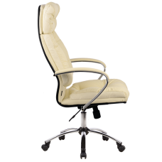 """Кресло для руководителя """"LK 14 CH"""" хромированное пятилучие, износостойкий перфорированный материал NewLeather* из натуральной кожи"""