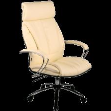 """Кресло для руководителя """"LK-13 CH"""" хромированное пятилучие, износостойкий перфорированный материал NewLeather из натуральной кожи"""