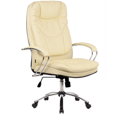 """Кресло для руководителя """"LK-11 CH"""" хромированное пятилучье,износостойкий перфорированный материал NewLeather из натуральной кожи"""
