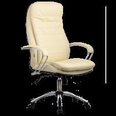 """Кресло для руководителя """"LK-3 CH"""" хромированное пятилучье, износостойкий перфорированный материал NewLeather из натуральной кожи"""